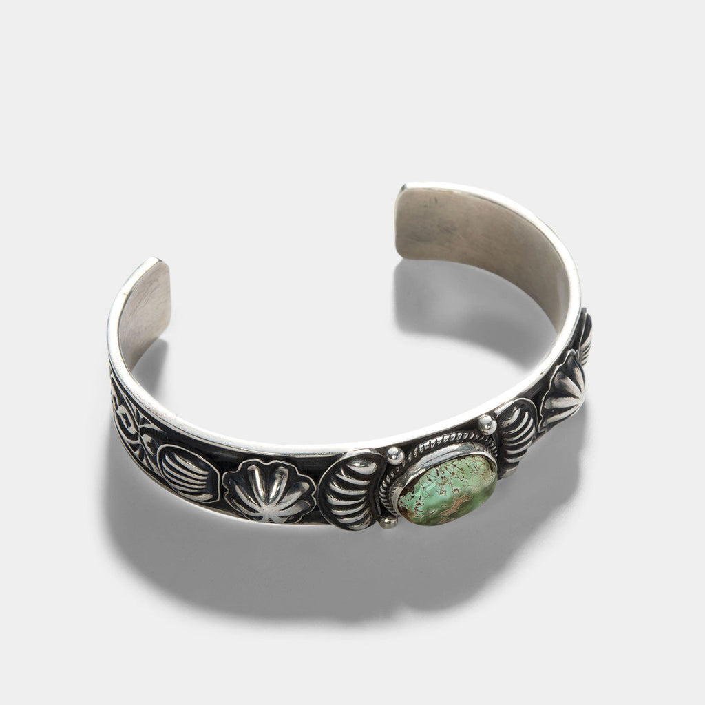 Navajo Royston Turquoise Clam Silver Cuff
