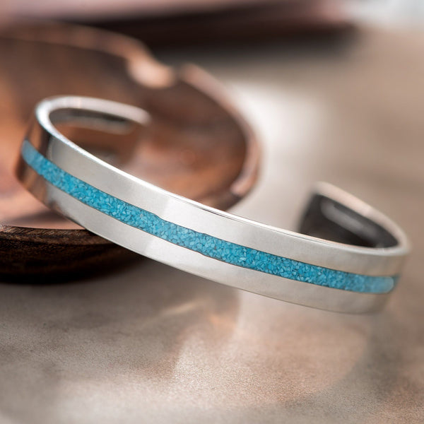 Navajo Turquoise Chip Inlay Silver Cuff