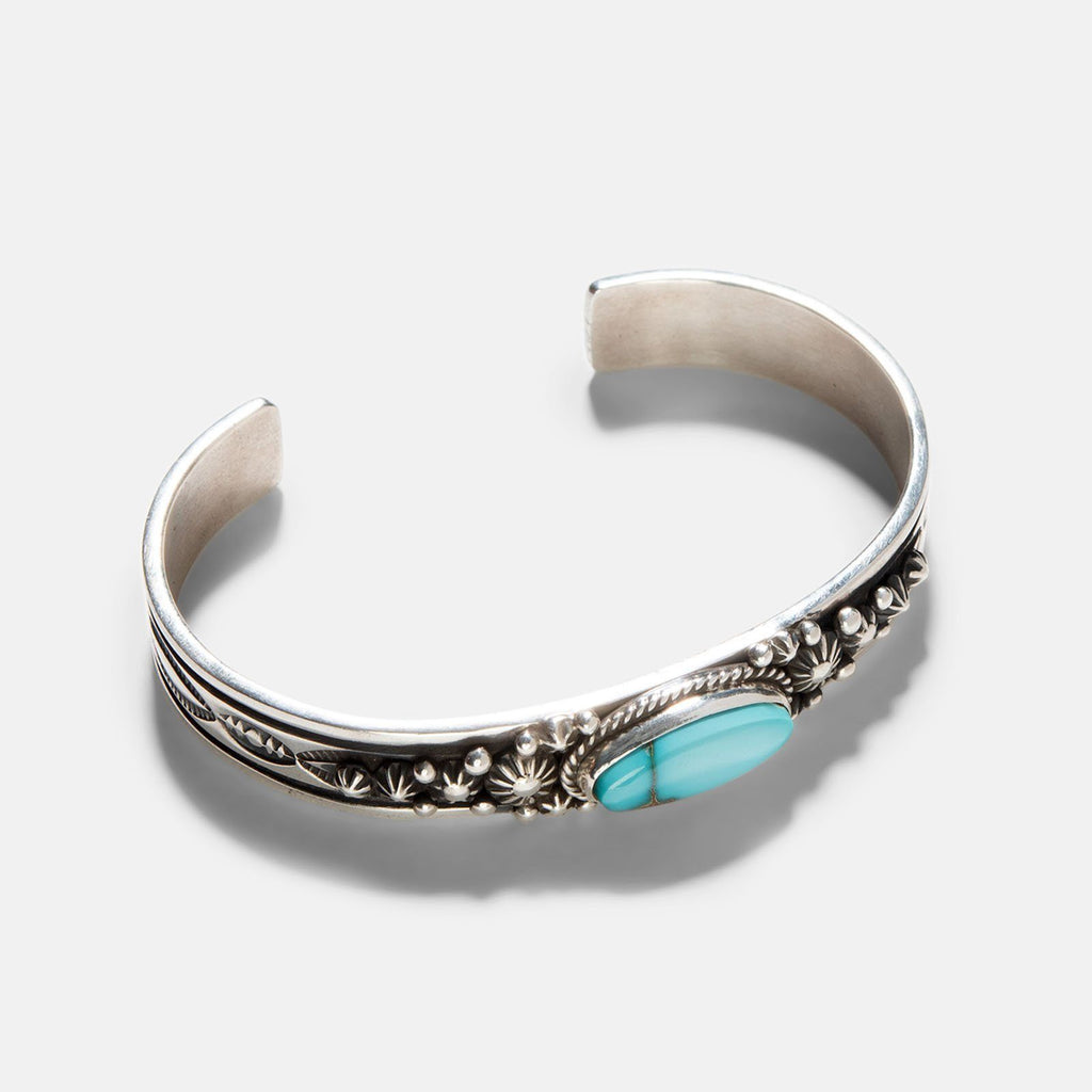 Navajo Pilot Mountain Turquoise Silver Cuff