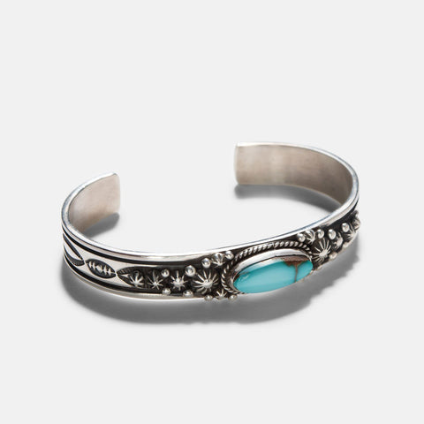Navajo Pilot Mountain Turquoise Silver Cuff 2