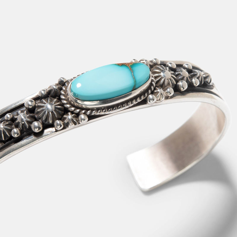 Navajo Pilot Mountain Turquoise Silver Cuff 4