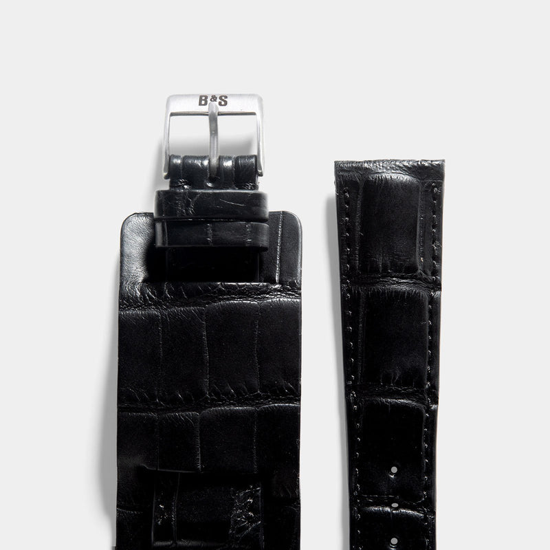 Newman Black Croco Leather Watch Strap