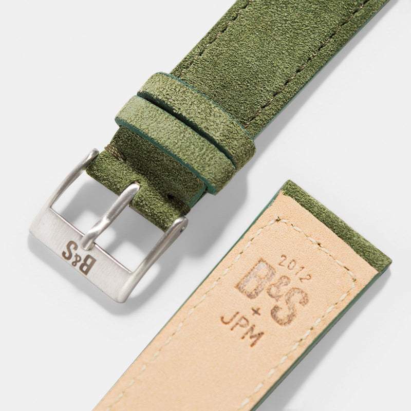 Olive Drab Green Suede Leather Watch Strap