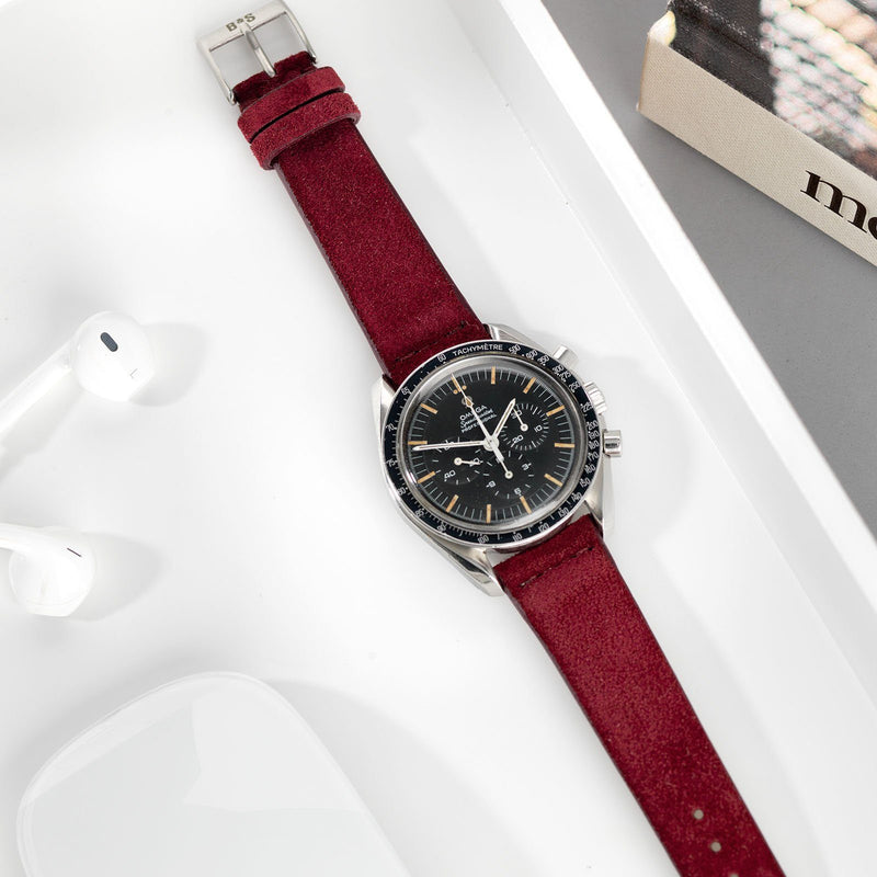 Omega Speedmaster Burgundy Red Silky Suede Leather Watch Strap