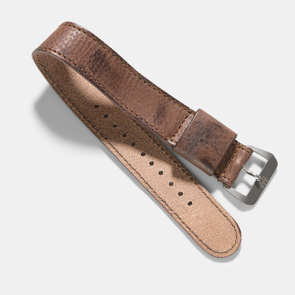One Piece Nato Brown Lumberjack Leather Watch Strap