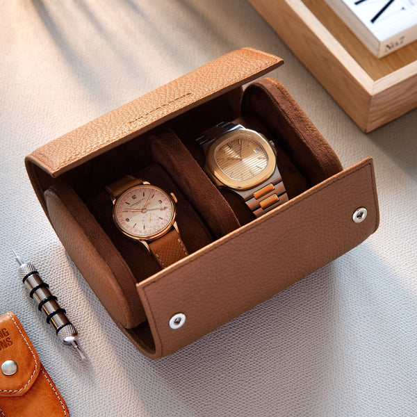 Oval 2 Watch Rich Brown Leather Watch Box