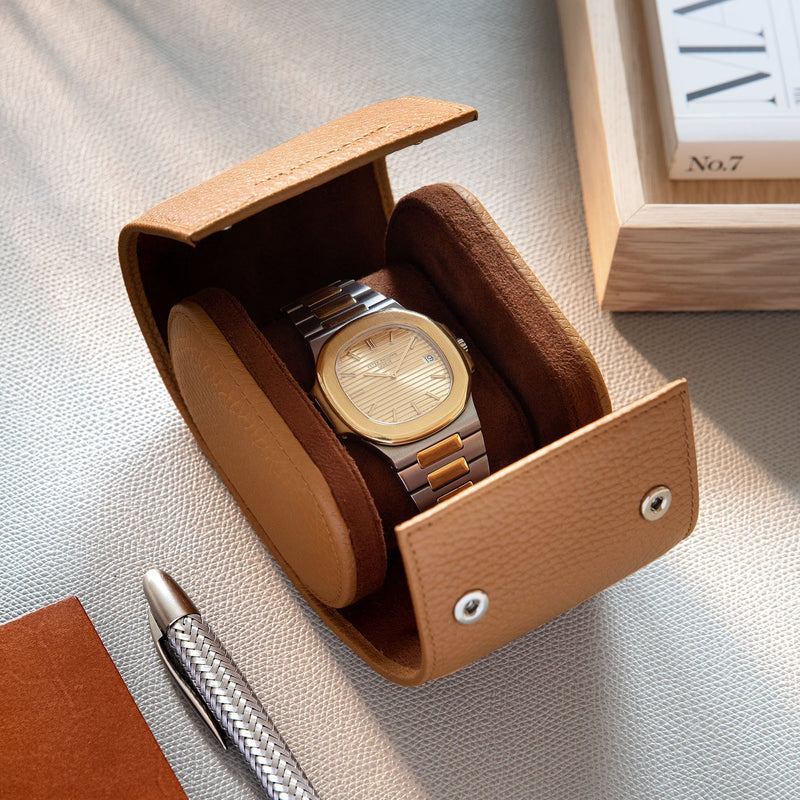 Oval Single Watch Medium Brown Leather Watch Tube
