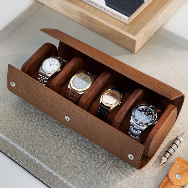 Oval 4 Watch Hazel Brown Leather Watch Box