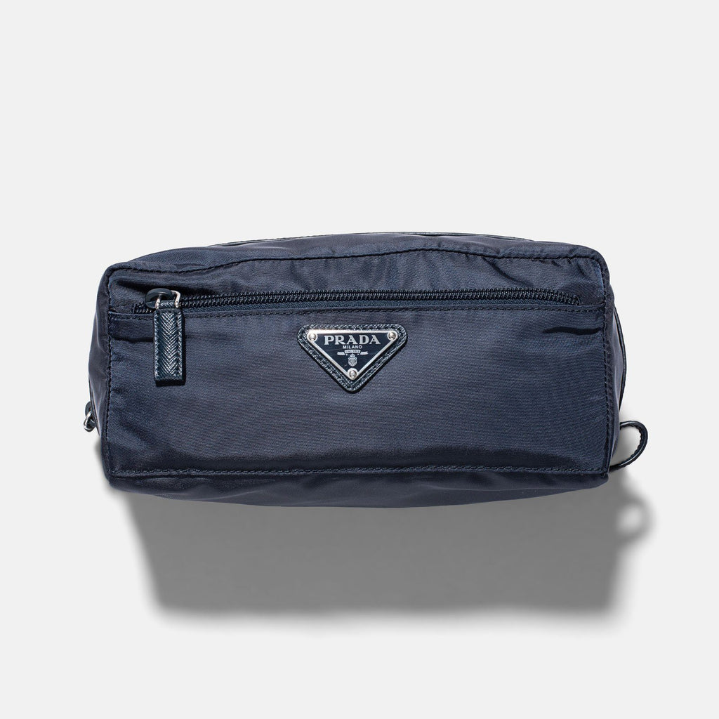 Prada Blue Tessuto Nylon Leather Travel Case