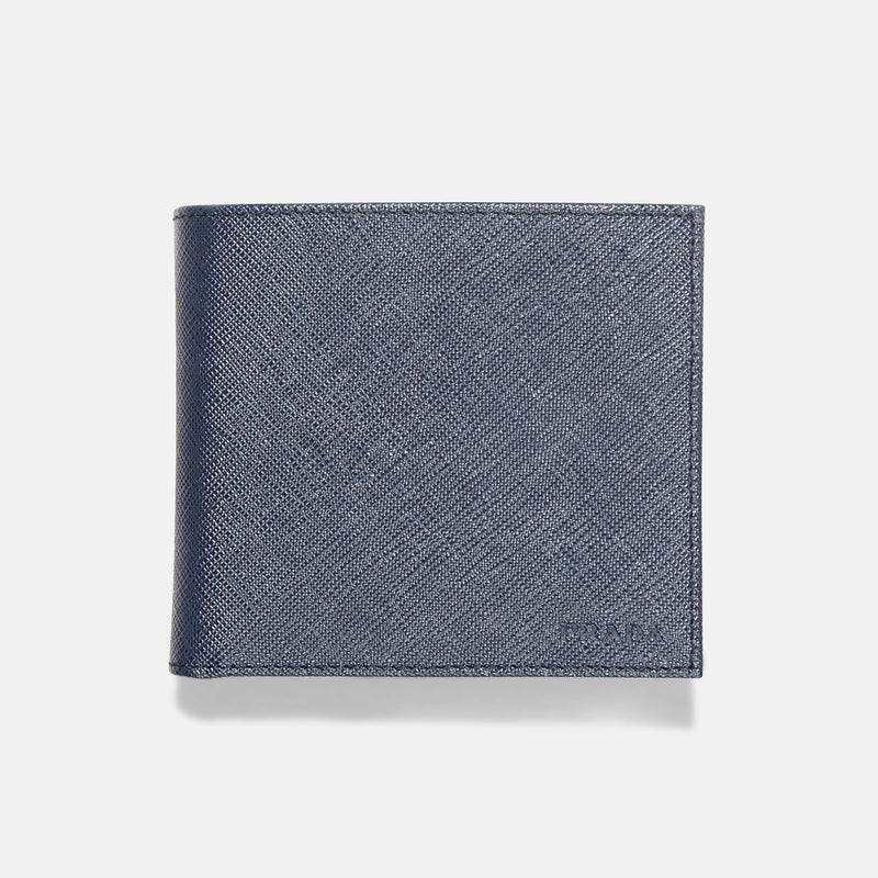 Prada Navy Blue Saffiano Leather Wallet