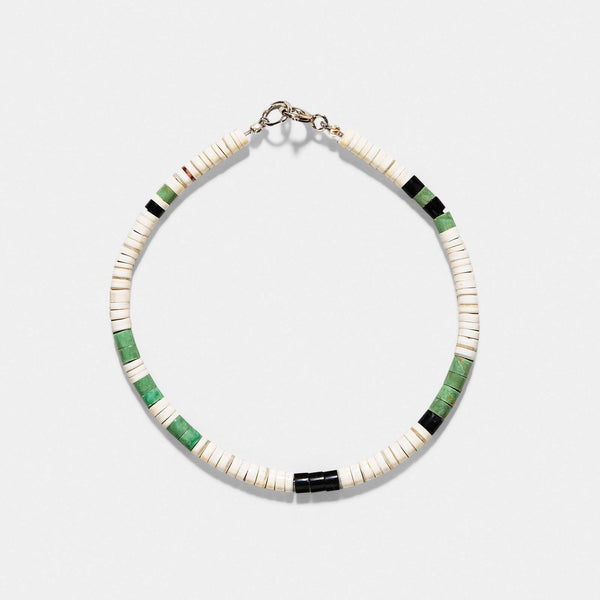 Pueblo Shell And Black Jet Heishi Bracelet