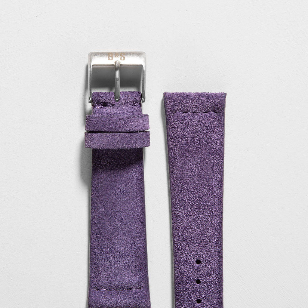 Purple Silky Suede Leather Watch Strap