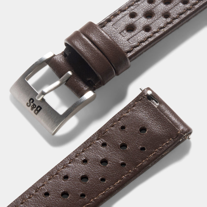 Racing Dark Brown Speedy Leather Watch Strap