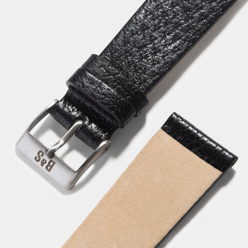 Retro Black Pigskin Leather Watch Strap