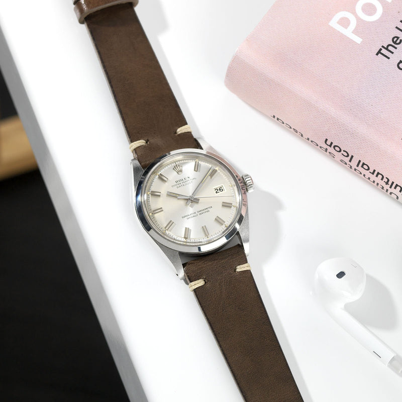 Smokeyjack Grey Leather Watch Strap