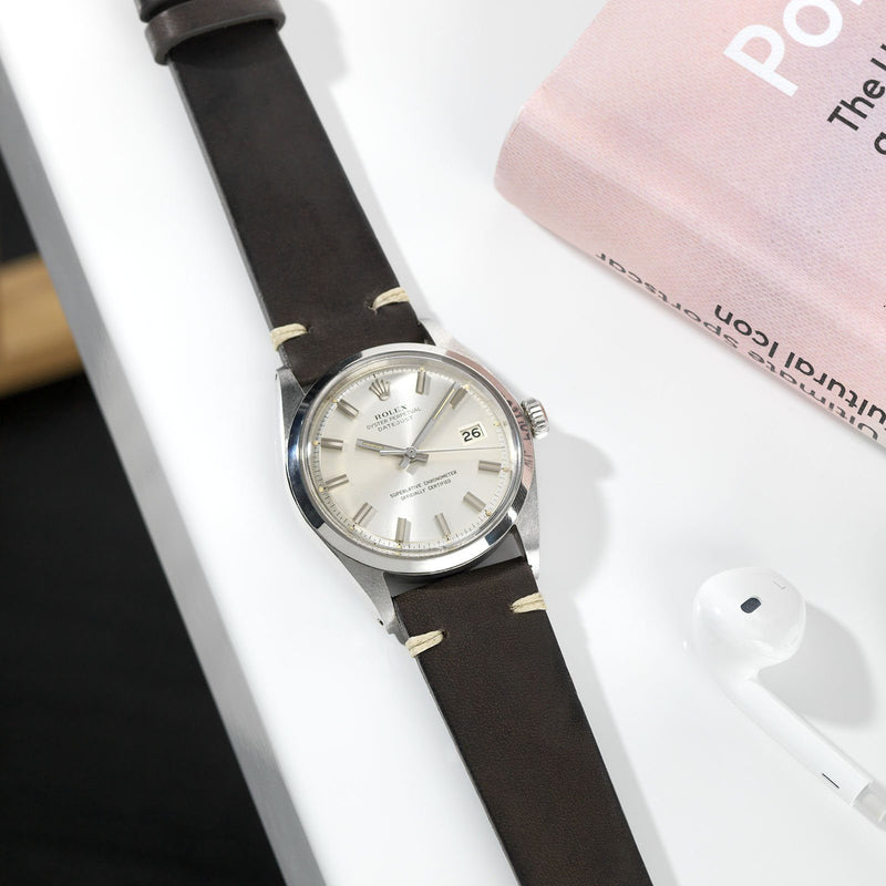 Piombo Grey Leather Watch Strap