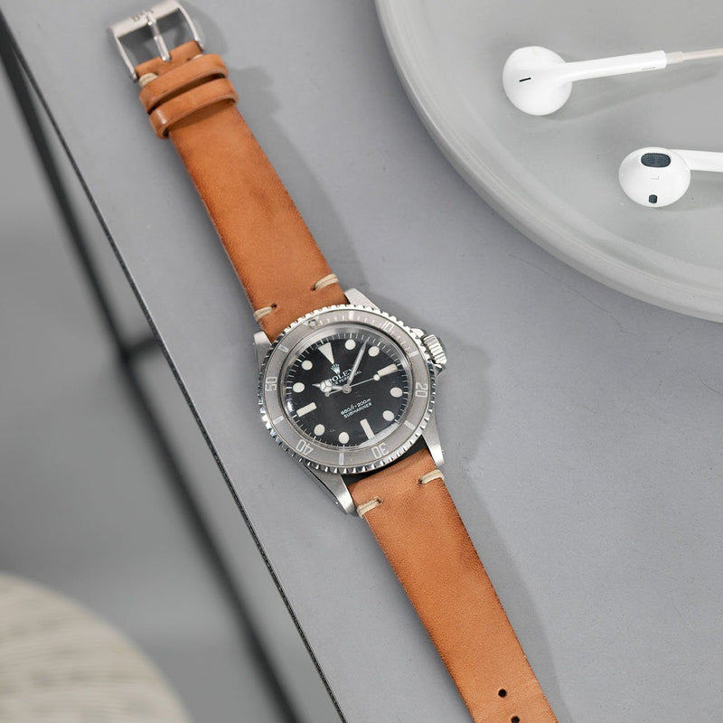 Rolex 5513 Maxi Submariner Caramel Brown Leather Watch Strap