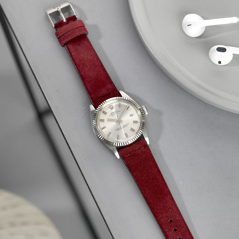 Rolex 1601 Datejust Burgundy Red Silky Suede Leather Watch Strap
