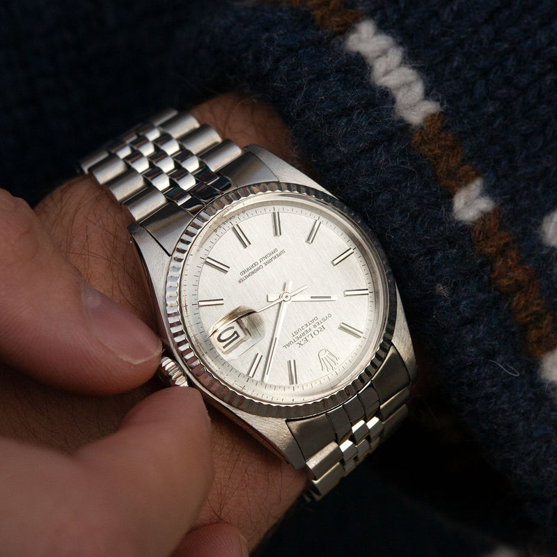 Rolex Datejust Silver Vertical Brush Non-Lume Dial 1601
