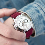 Rolex Zenith Daytona Burgundy Red Silky Suede Leather Watch Strap