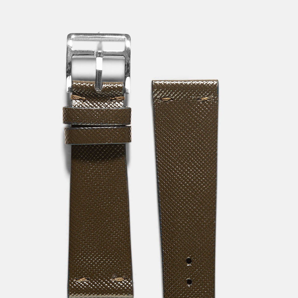 Saffiano Olive Green Leather Watch Strap