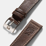 Seal Dark Brown Boxed Stitch Leather Watch Strap