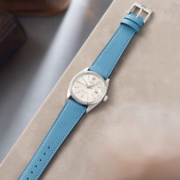 Sellier Ciel Blue Leather Watch Strap