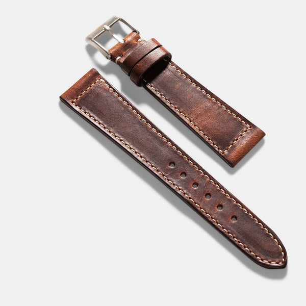 Siena Brown Boxed Stitch Leather Watch Strap