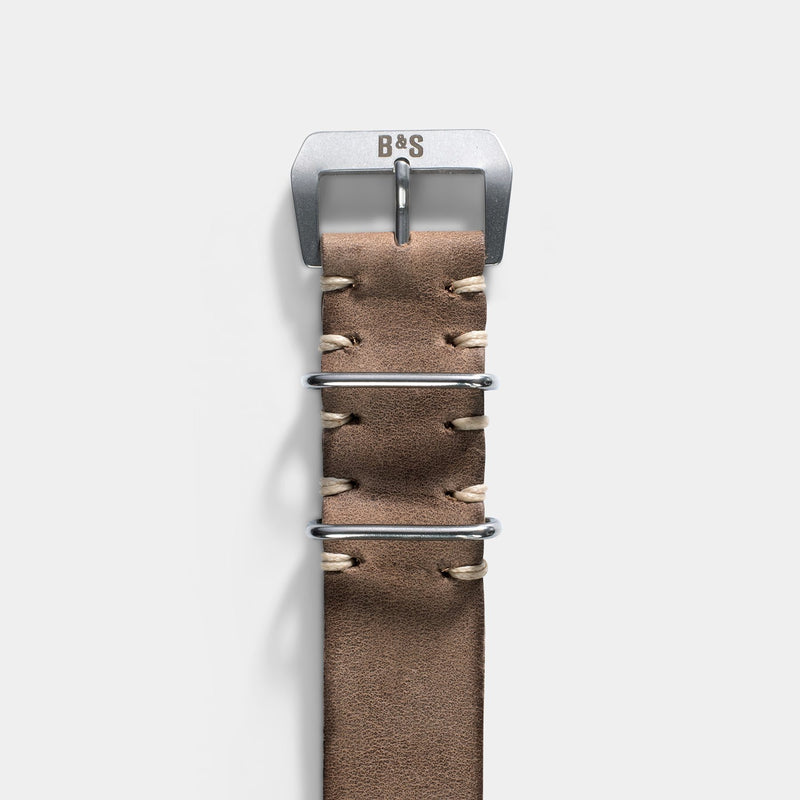 Smoke Grey Nato Leather Watch Strap
