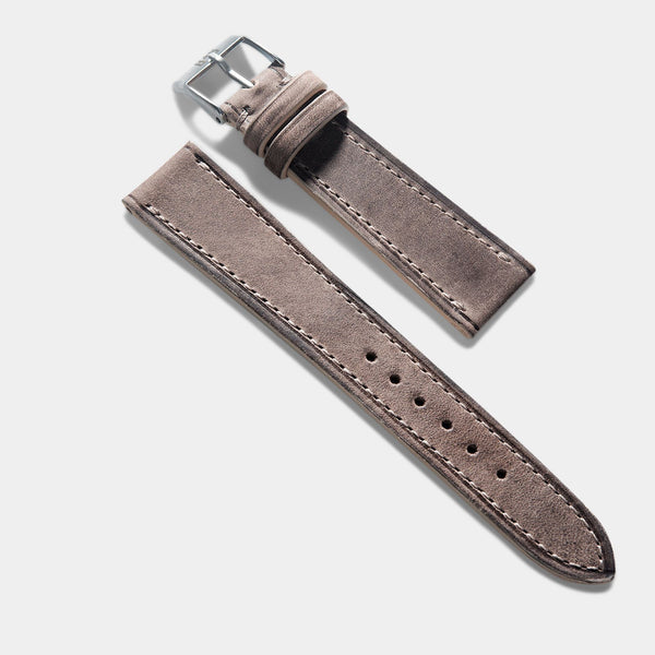 Smoke Grey Retro Leather Watch Strap