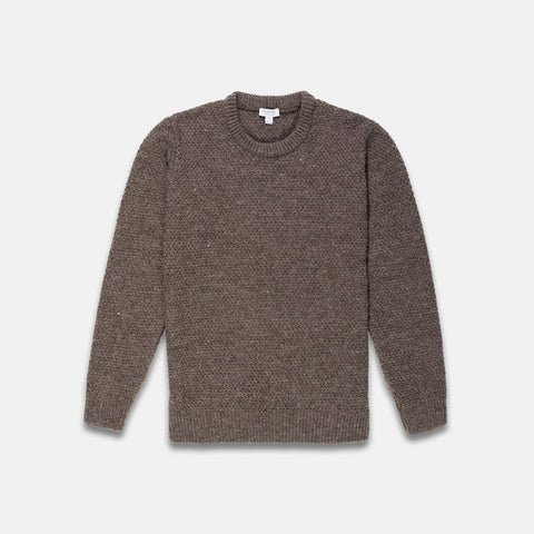 Sunspel Chunky Texture Crew Neck Jumper Grey Brown 3