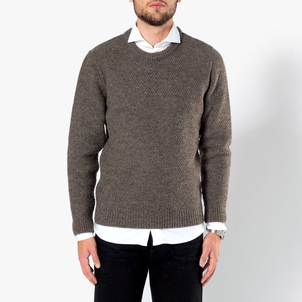 Sunspel Chunky Texture Crew Neck Jumper Grey Brown 6