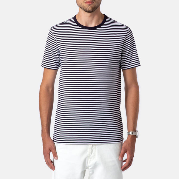 Sunspel Classic Cotton T-Shirt Navy - White English Stripe