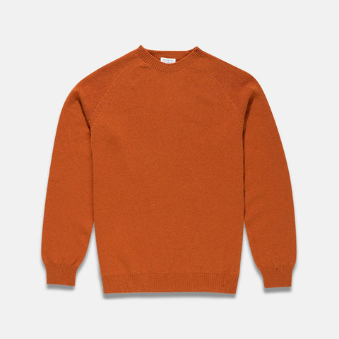 Sunspel Lambswool Crew Neck Jumper Burnt Orange