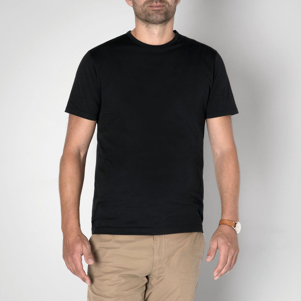 Sunspel Men's Classic Black Cotton T-Shirt