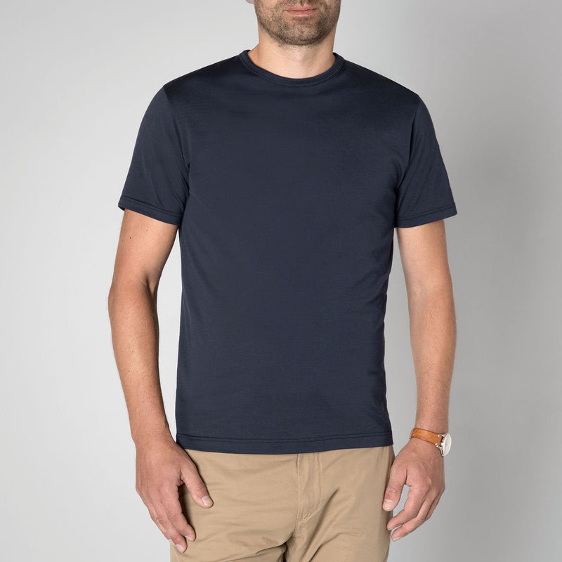 Sunspel Men's Classic Navy Blue Cotton T-Shirt