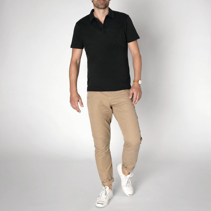 Sunspel Men's Cotton Black Riviera Polo Shirt