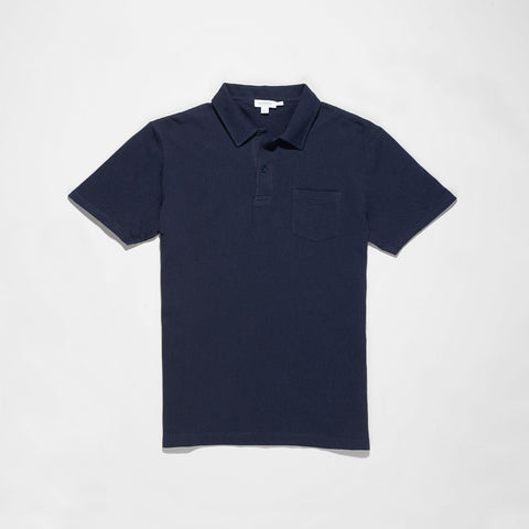 Sunspel Men's Cotton Navy Blue Riviera Polo Shirt
