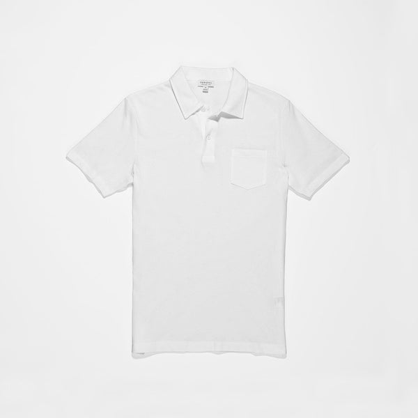 Sunspel Men's Cotton White Riviera Polo Shirt