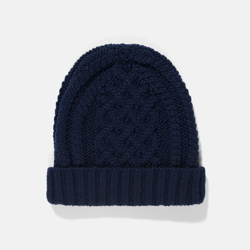 Sunspel Merino Wool Cable Knit Hat Navy 2