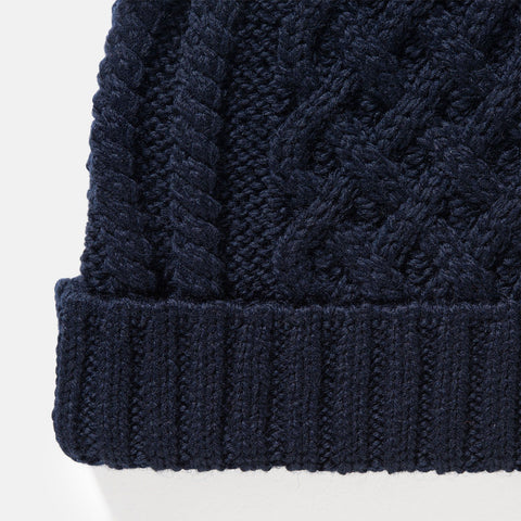 Sunspel Merino Wool Cable Knit Hat Navy