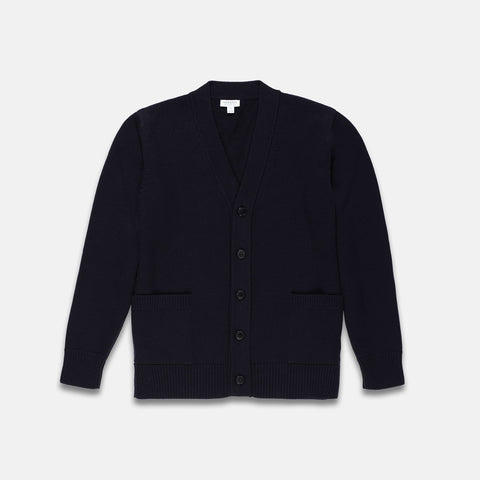 Sunspel Merino Wool College Cardigan Navy 5