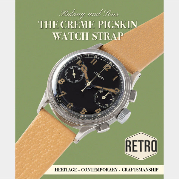Retro Creme Pigskin Leather Watch Strap