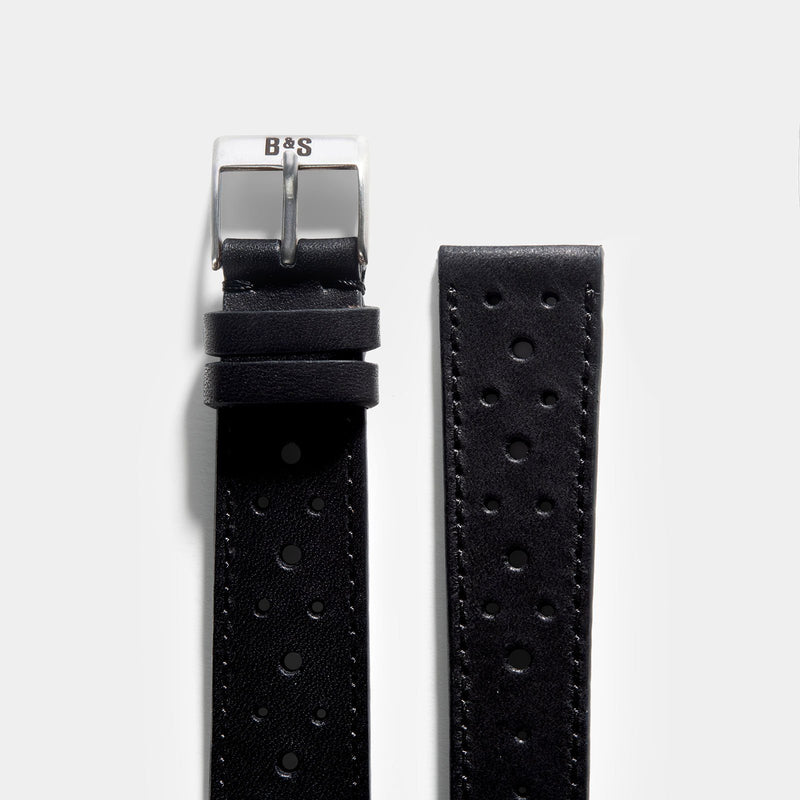 Racing Black Leather Watch Strap