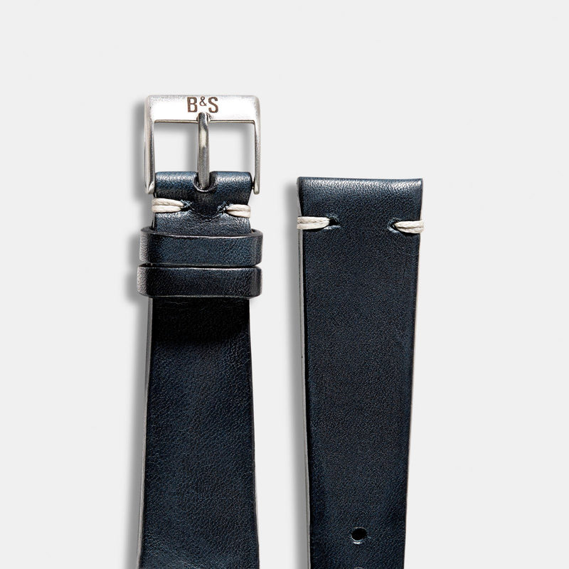 Blue Ink Leather Watch Strap