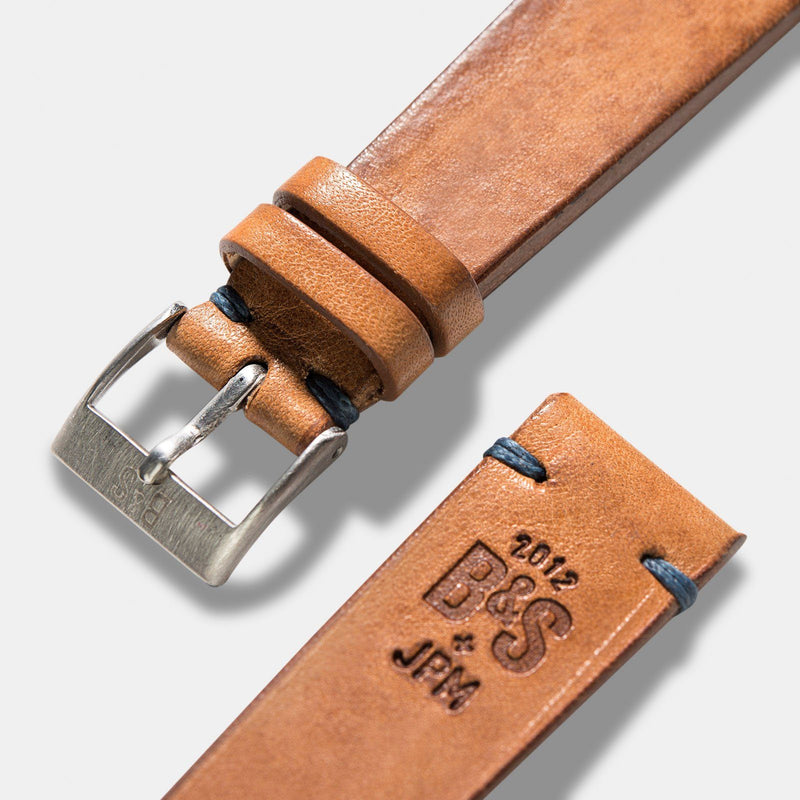 Caramel Brown Blue Stitch Leather Watch Strap