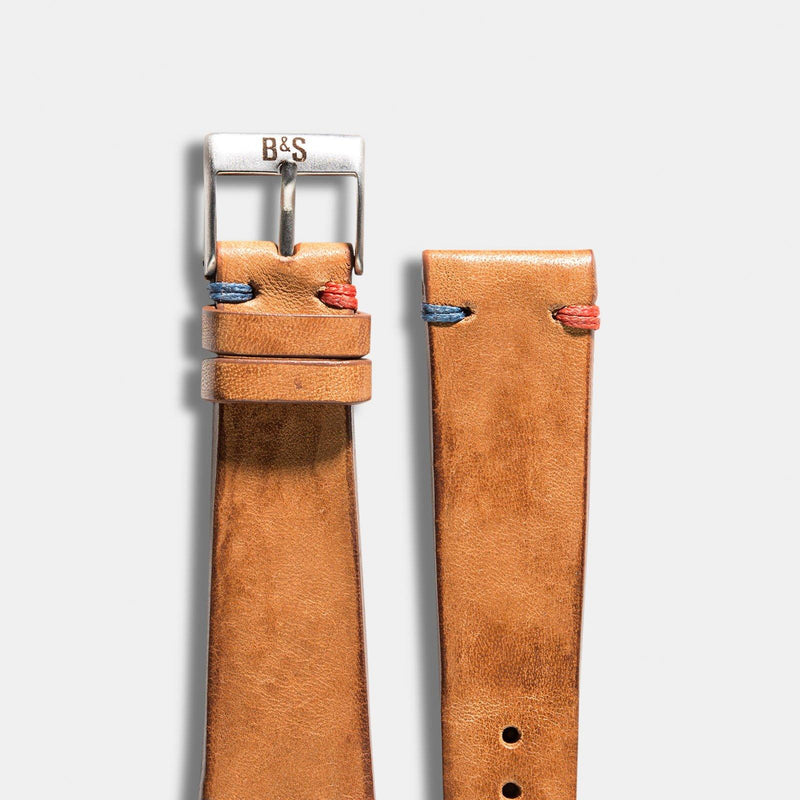 Caramel Brown Pepsi Stitch Leather Watch Strap