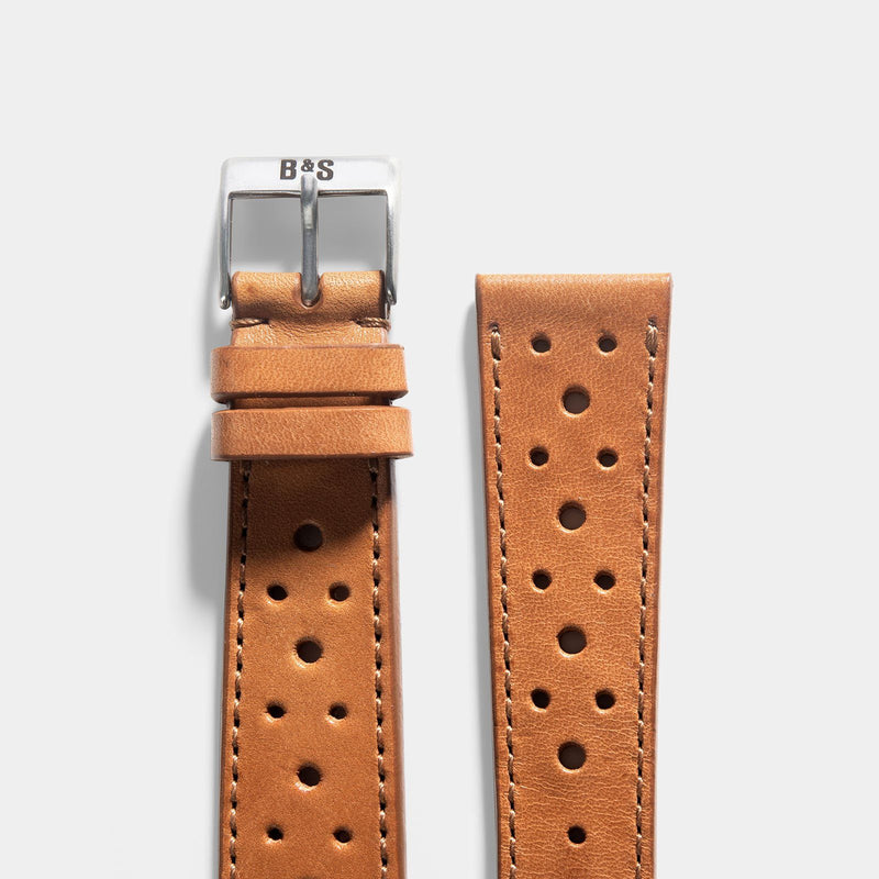 Racing Caramel Brown Leather Watch Strap