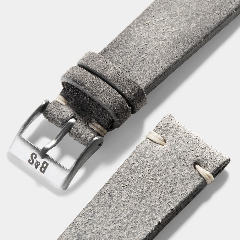 Rugged Grey Leather Watch Strap