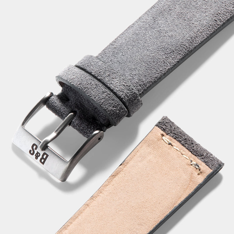 Grey Silky Suede Leather Watch Strap